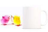 Easter Mug Mockup. White blank coffee mug to add your custom design or quote to.