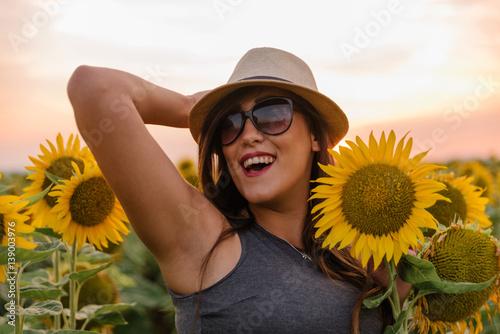 Feeling great in a sunflower field