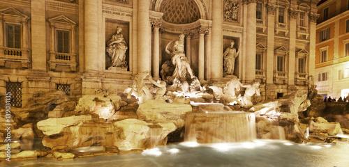 Obraz na Plexi Trevi Fountain, Night, Rome, Italy