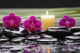 spa concept –red orchid and green leaf ,candle