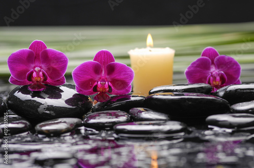 Poster Spa spa concept –red orchid and green leaf ,candle