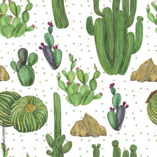 Watercolor painting seamless pattern with hand drawn cactus and palm garden. - 139039529