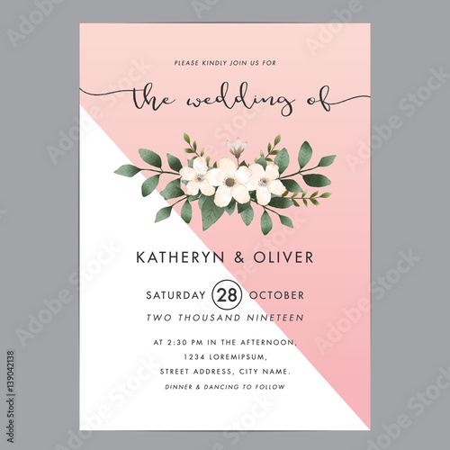 Modern and clean wedding invitation card template with bouquet flower. Vector illustration.