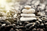 Stones pyramid on the beach. Zen and harmony concept.
