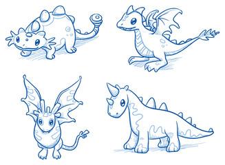 Set of fantastic animals, creatures, dinosaur, dragon, bat. Hand drawn doodle vector illustration.