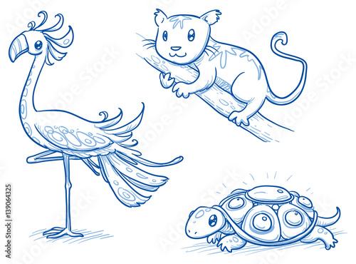 Set of fantastic animals, creatures, flamingo, meercat, turtle. Hand drawn doodle vector illustration. - 139064325