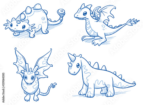 Set of fantastic animals, creatures, dinosaur, dragon, bat. Hand drawn doodle vector illustration. - 139064380