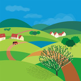 Green landscape. Freehand drawn cartoon outdoors style. Farm houses, country winding road on meadow, field, blooming tree. Rural community view among hills. Vector village countryside scene background
