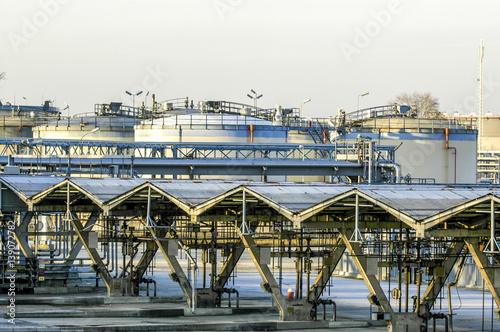 Deurstickers Wenen Vienna, oil harbour Lobau, tank farm, industrial plant, Austria,