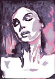 Sensitive portrait woman, vector