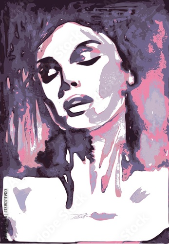 Foto op Canvas Schilderkunstige Inspiratie Sensitive portrait woman, vector