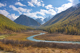 the valley of the river in Mountains Altai in the fall