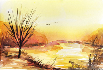 Watercolor landscape with trees. © bruniewska