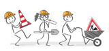 Bauarbeiter gehen zur Baustelle