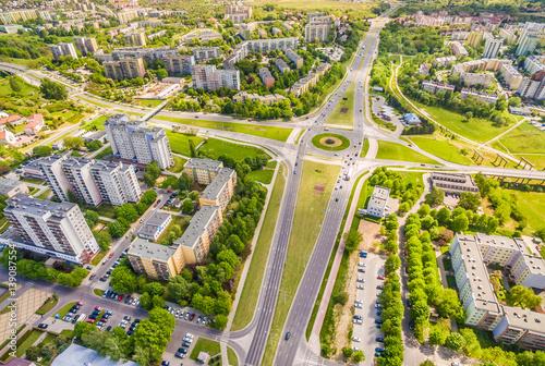 Fototapety, obrazy : Lublin - Dzielnica Czuby z lotu ptaka. Rondo na ulicy Jan Pawła II.
