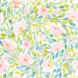 Cotton fabric Seamless pattern with  lovely pink flowers. Watercolor illustration. Composition with floral elements.