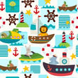 seamless pattern sea transports with animals  - vector illustration, eps