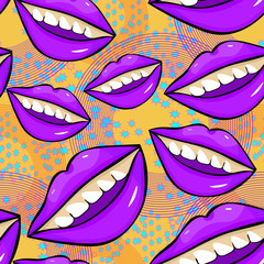 seamless pattern Disco sexy female lips with teeth.  illustration