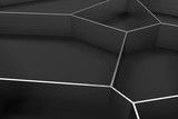 Abstract brushed metal 3d voronoi grate on black background