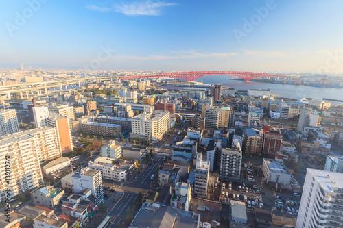 Poster Bird eye view of Osaka bay from Tempozan ferris wheel, Japan