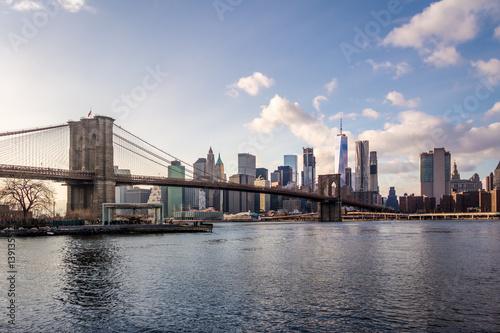 Brooklyn Bridge and Manhattan Skyline - New York, USA Poster