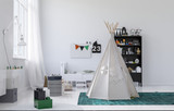 Small white wigwam or tepee in a kids nursery - 139136716
