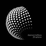 Set abstract halftone 3D spheres. Dotted spot vector design elements. - 139141753