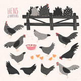 Vector set of various hens and roosters - 139147948