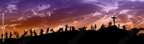 Way of the cross or stations of the cross silhouettes of Jesus Christ carrying his cross on Calvary hill, with cloudy dark sky and sun light rays. Abstract religious Lent illustration.