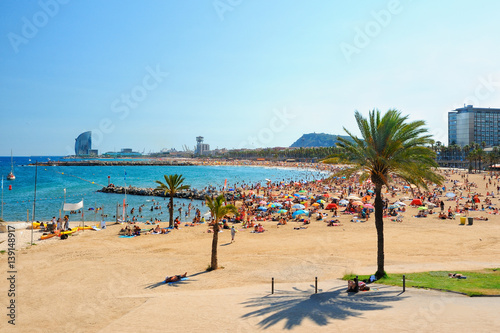 View of Barcelona beach Poster