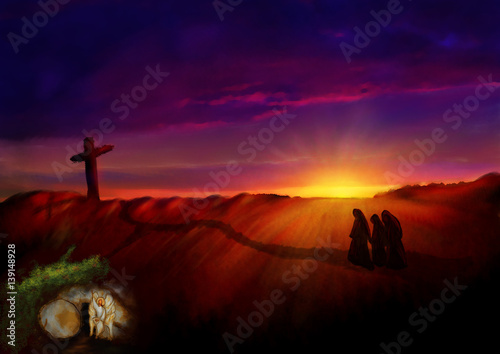 Poster Cross on a hill at dawn, with empty tomb in a garden