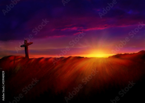 Poster Cross on a hill at dawn