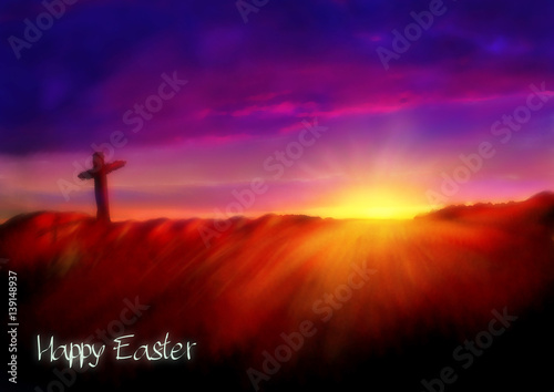 Cross on a hill at dawn Poster