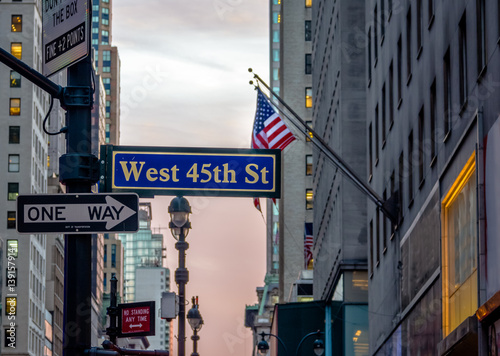 Street sign of West 45th St - New York, USA плакат