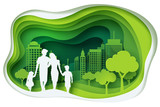 Paper carve to family and park on green town shape, paper art concept and ecology idea - 139168178