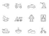 Outline Icons  Toys Wall Sticker