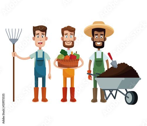 three men farmer work image vector illustration eps 10