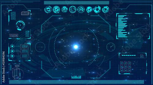 Radar screen. Vector illustration for your design. Technology background. Futuristic user interface. HUD.