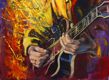 Jazz guitarists hands, playing guitar, with multicolored fantasy background. Original artwork in acrylic on canvas