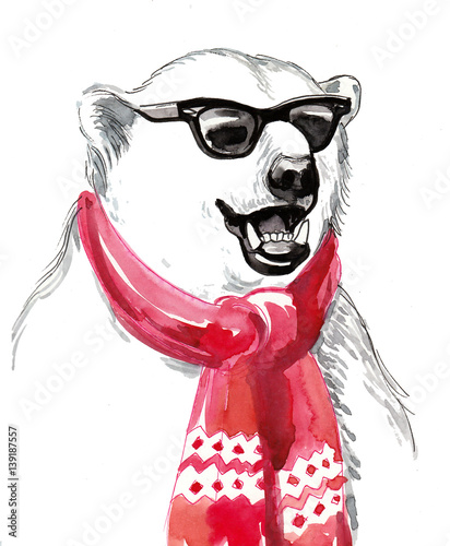 Cool polar bear in sun glasses and red scarf - 139187557
