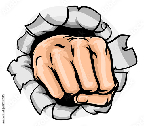 Fotobehang Pop Art Fist Hand Punching Hole