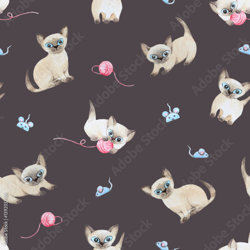 akwarela-bezszwowe-wzor-koty-bawiace-sie-zabawkami-myszy-raster