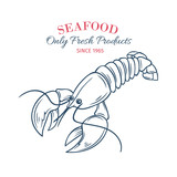 Hand drawn lobster icon.