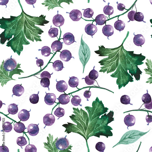 watercolor illustration. Seamless pattern of currant berry and leaves - 139205922