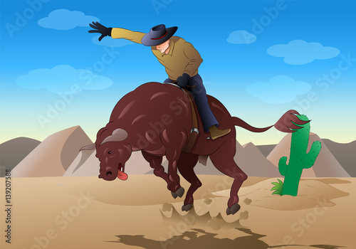cowboy ride a wild bull on rodeo game