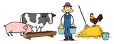 Bäuerin füttert Tiere auf Bauernhof - 139213752