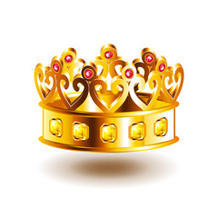 Crown with patterns isolated on white vector
