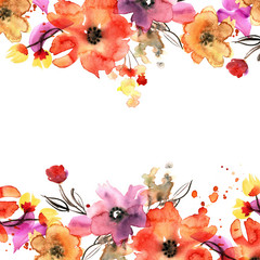 Cute watercolor hand painted floral background . Invitation. Wedding card. Birthday card.