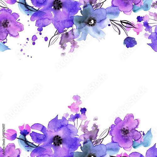 Ładny akwarela ręcznie malowane kwiatowy tło. Zaproszenie. Kartka ślubna. Kartka urodzinowa.