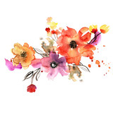 Watercolor hand painted flower elements for invitation, wedding card, birthday card.